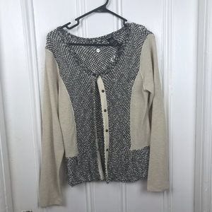 BKE Boutique buttons cardigan sweater black cream